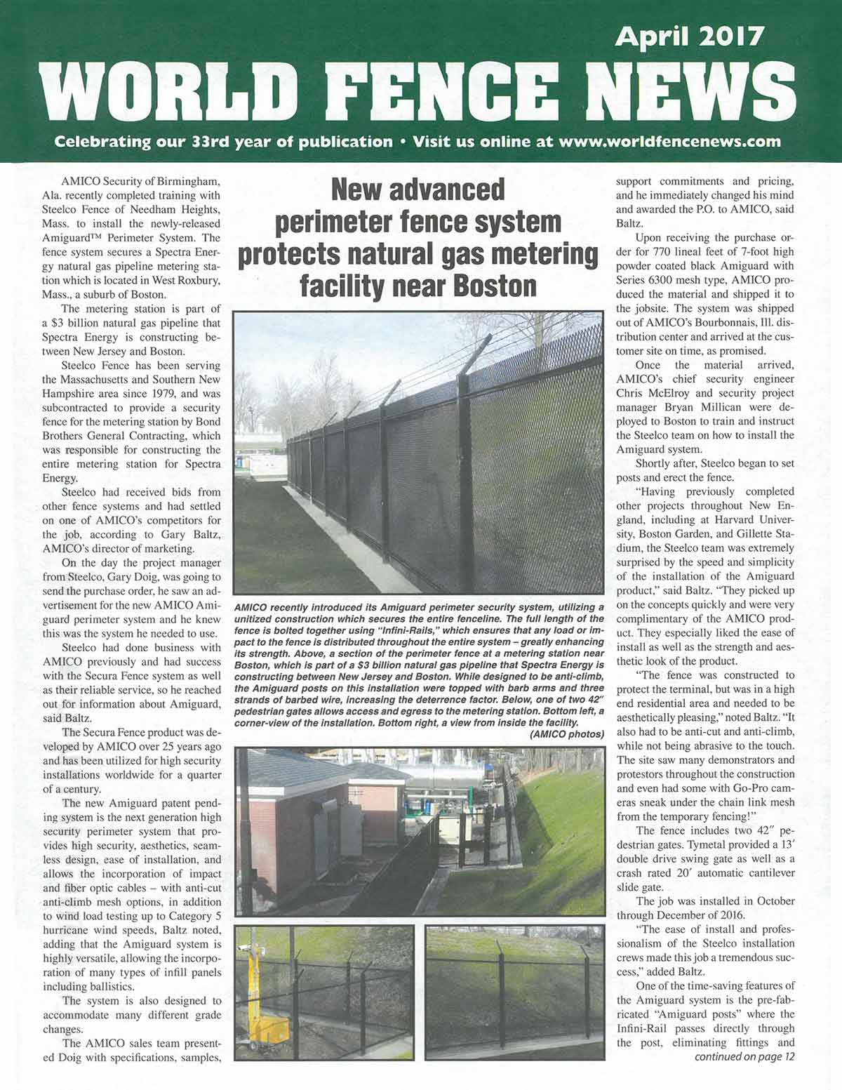 World Fence News Features AMICO Security and New Advanced Perimeter Fence System